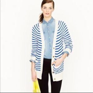 J. Crew blue striped oversized cardigan sweater XS